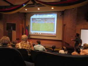 At small science meetings, presentations might be interrupted on occasion by international events (the World Cup)