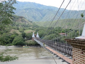 Suspension bridge across the Cauca River, near Santa Fe, Colombia.