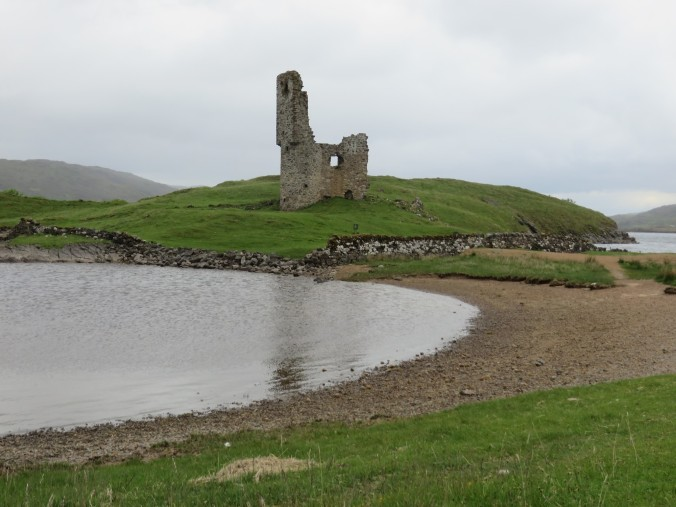 The ruins of Castle Ardvreck on the shores of Loch Assynt in the northwest Scottish Highlands