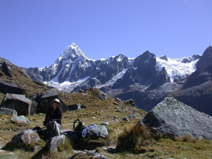 Me - on a trek through the Cordillera Blanca in the Peruvian Andes in 2005. The peak in the background is Taulliraju. (In all of the photos from the high Andes, I'm sitting on a rock - the thin air always made me dizzy at 15,000 feet).