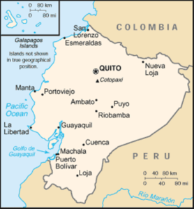 Map of Ecuador - I'll be calling Cuenca 'home' for 6 months. (Source: US Dept of State website)