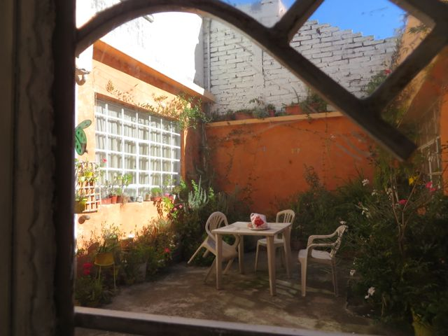Morning sunlight in the courtyard outside the bedroom at my Quito B&B.