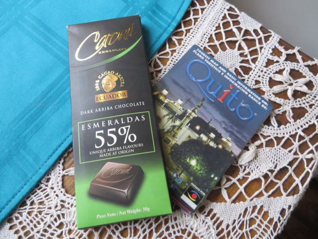 LOCAL chocolate, and my trusty Quito map.