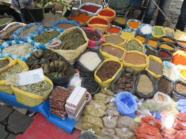 I think the spices are just as colorful as the textiles.