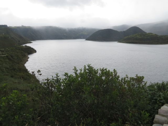 Lago Cuicocha. Unfortunately, clouds and mist obscured our view of the volcanic rim, but this is not unusual.
