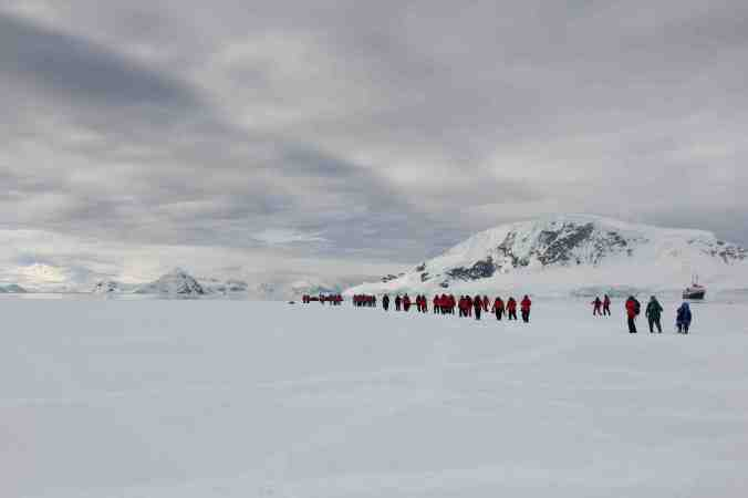 Homeward Bounders leaving Wilhelmina Bay Fast Ice- notice the costumes!