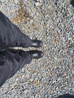Standing on Antarctic rocks!